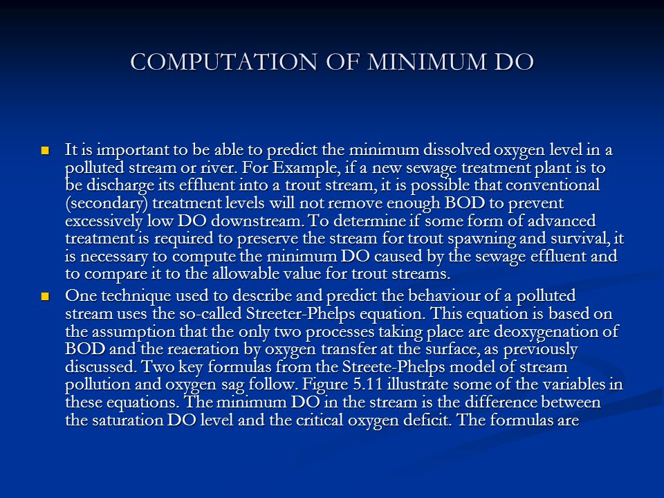 COMPUTATION OF MINIMUM DO