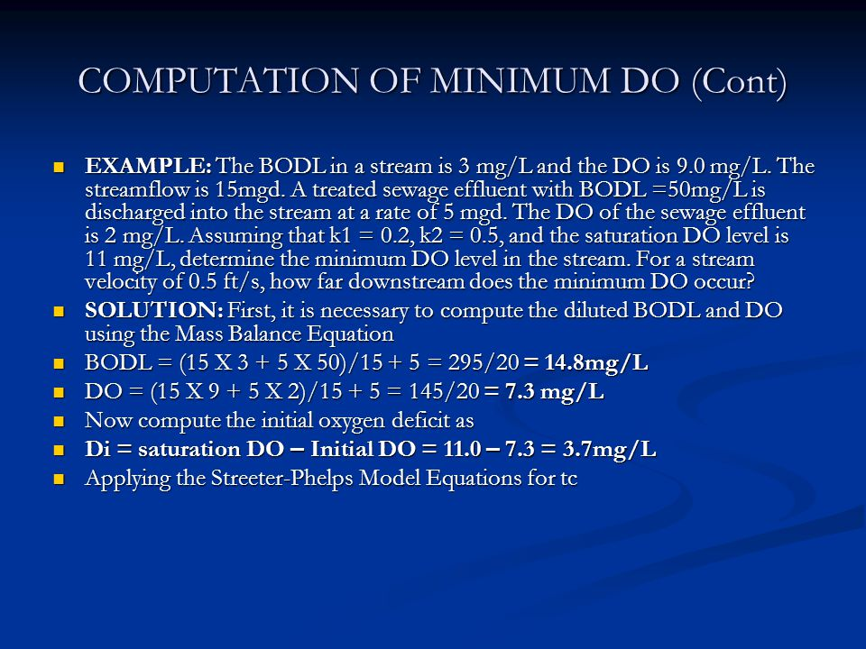 COMPUTATION OF MINIMUM DO (Cont)