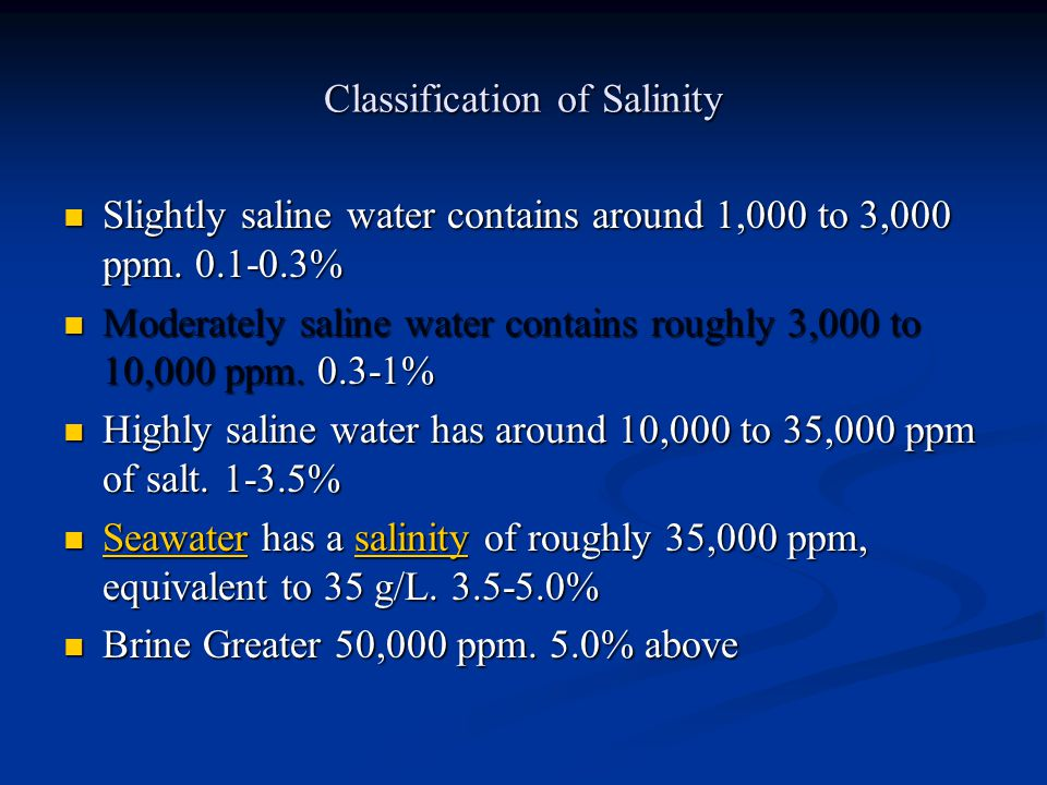 Classification of Salinity