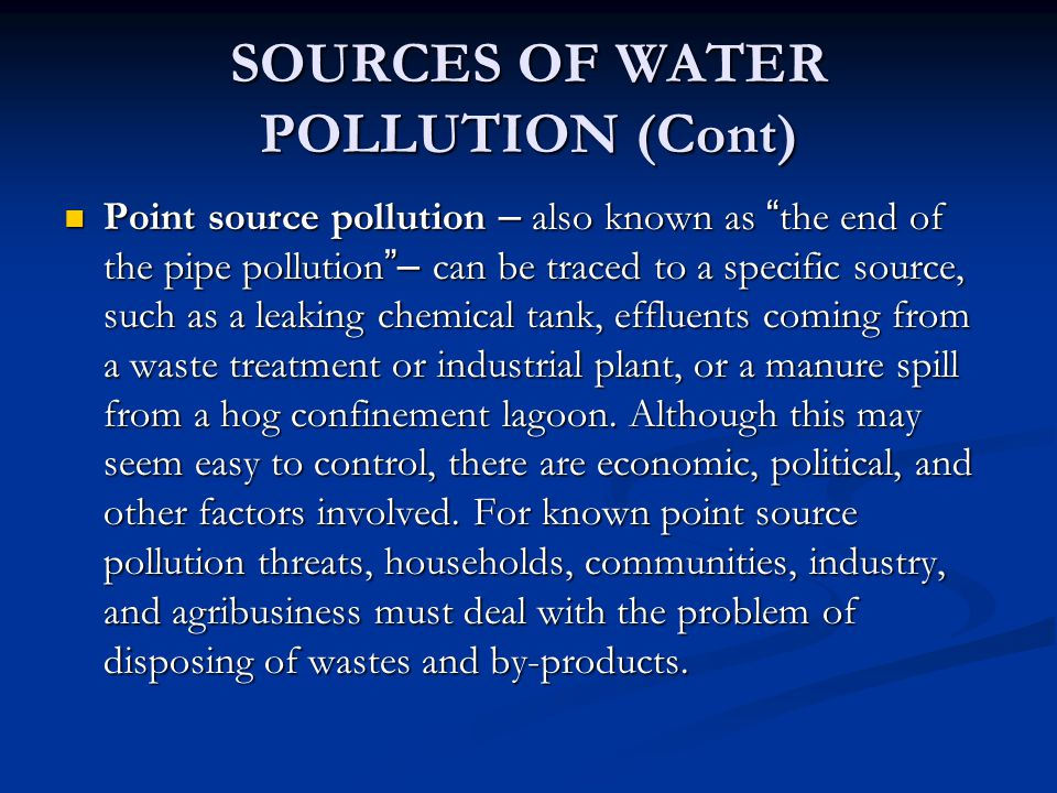 SOURCES OF WATER POLLUTION (Cont)