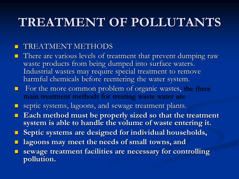 TREATMENT OF POLLUTANTS