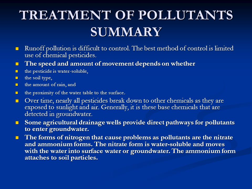 TREATMENT OF POLLUTANTS SUMMARY