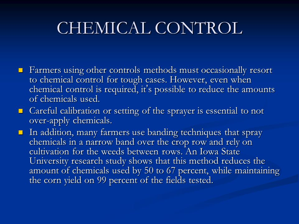 CHEMICAL CONTROL
