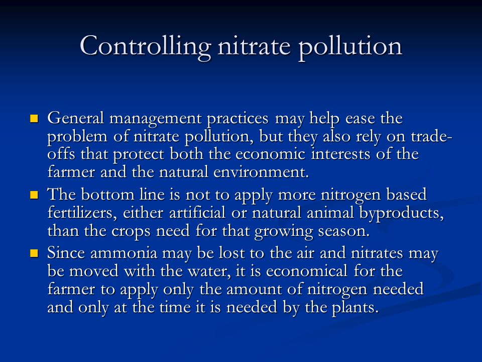 Controlling nitrate pollution
