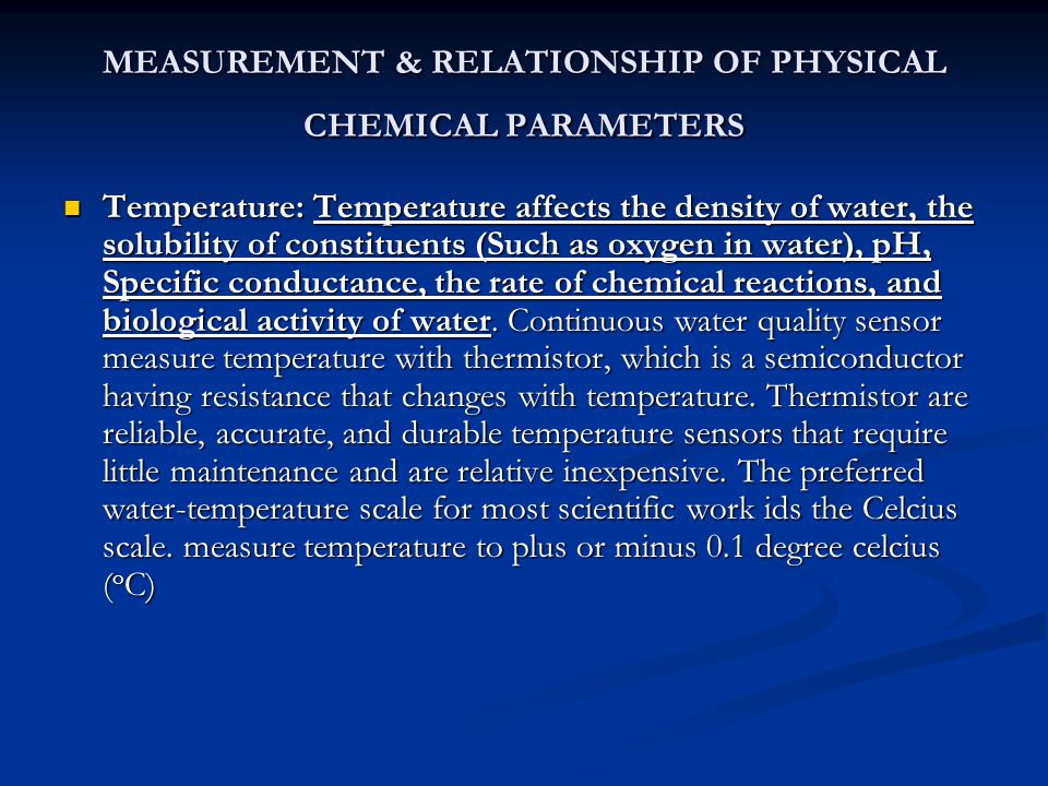 MEASUREMENT & RELATIONSHIP OF PHYSICAL CHEMICAL PARAMETERS