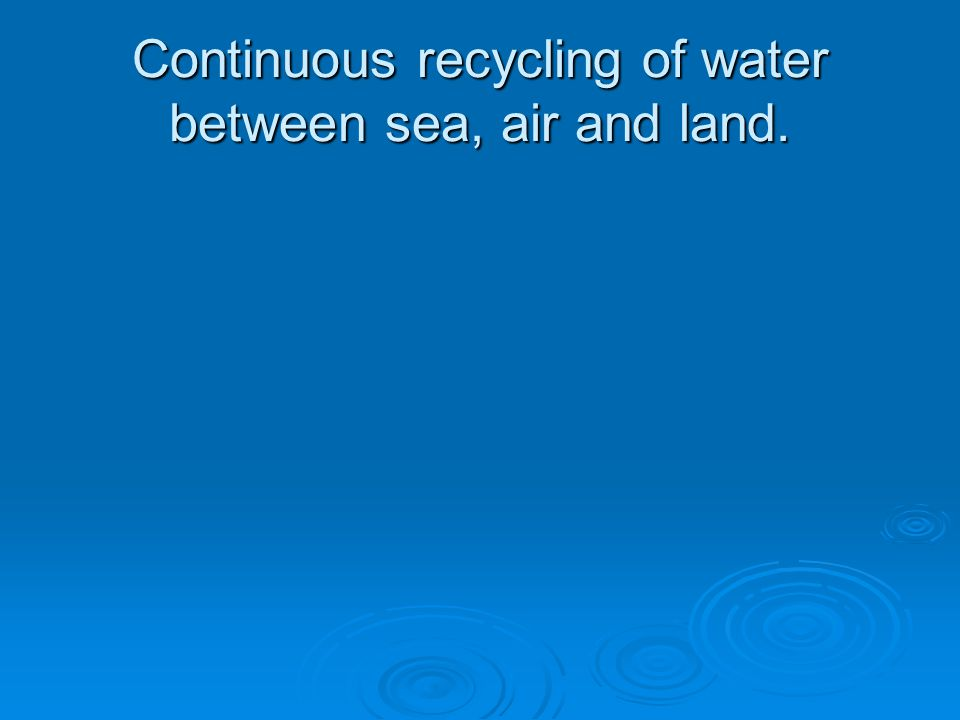 Continuous recycling of water between sea, air and land.