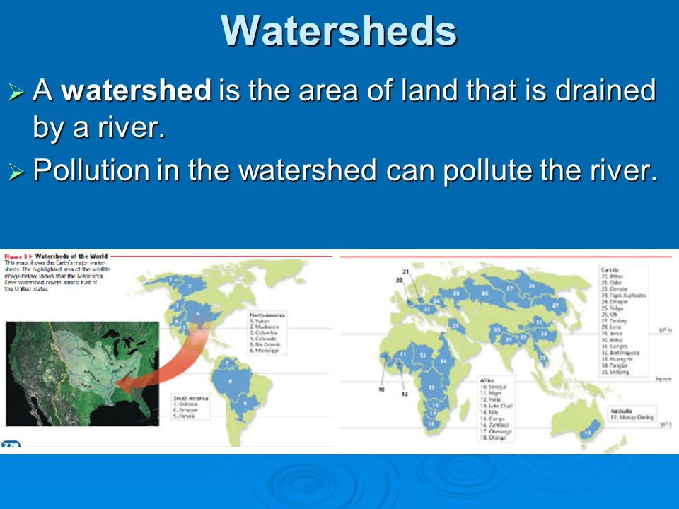 Watersheds A watershed is the area of land that is drained by a river.