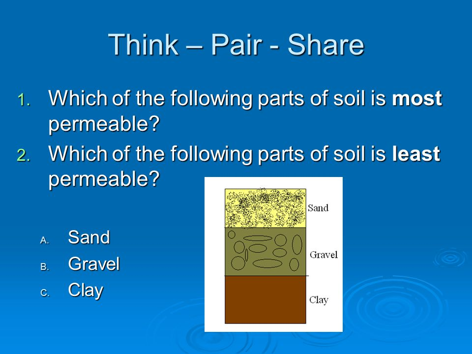 Think – Pair - Share Which of the following parts of soil is most permeable Which of the following parts of soil is least permeable