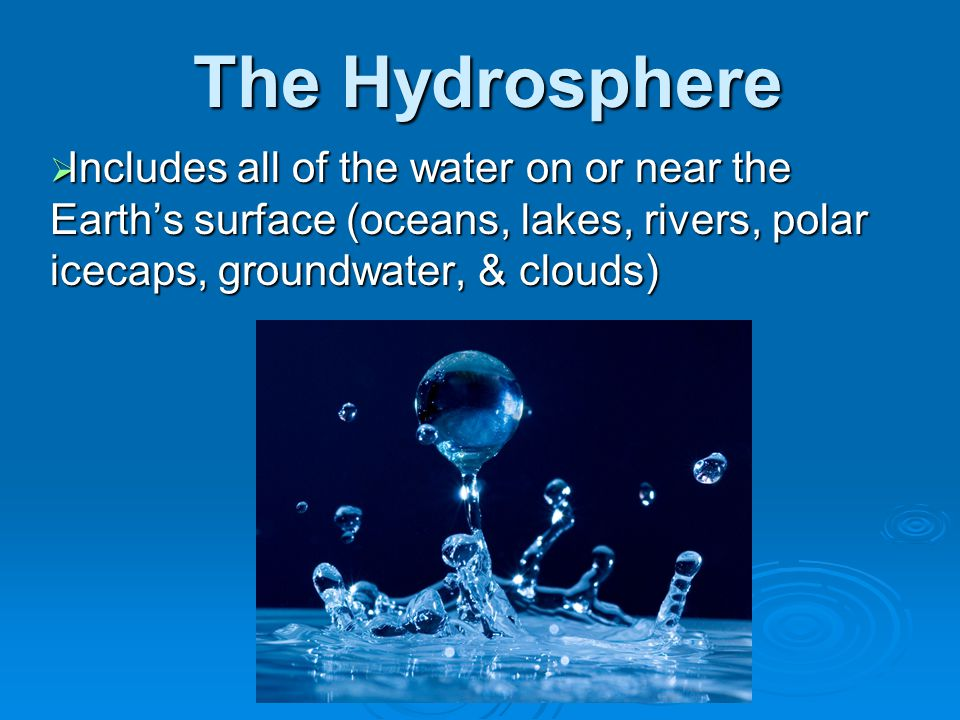The Hydrosphere Includes all of the water on or near the Earth's surface (oceans, lakes, rivers, polar icecaps, groundwater, & clouds)