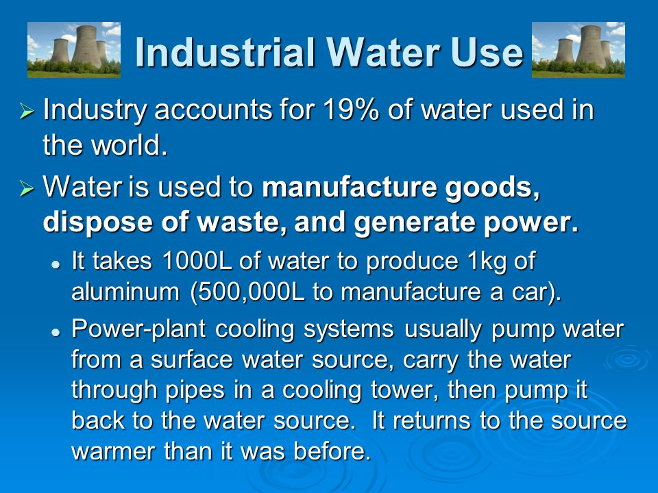 Industrial Water Use Industry accounts for 19% of water used in the world. Water is used to manufacture goods, dispose of waste, and generate power.