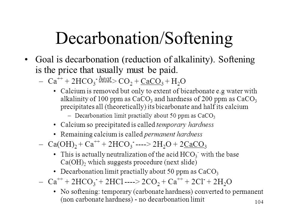 Lime Decarbonation Calculate amount of lime required