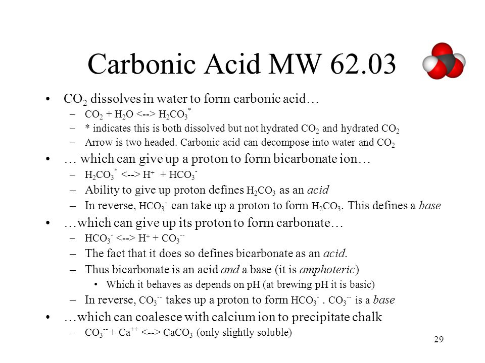 Calcium Carbonate MW 100.087 Ca++ + CO3-- --> CaCO3 (lime, chalk, limestone) Happens in the bodies of marine animals.