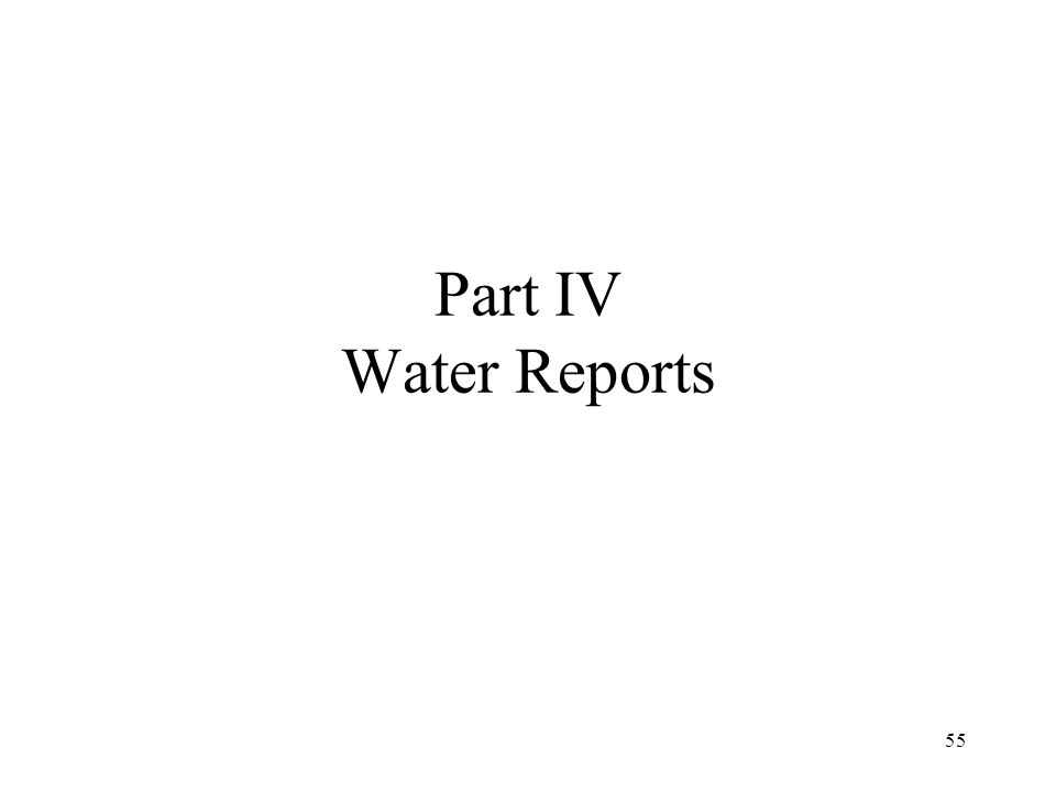 Water Report Key Parameters 1st Aspect