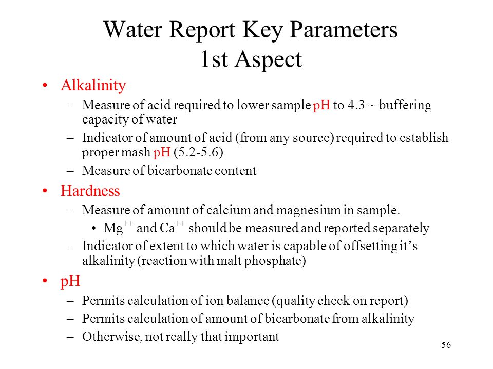 Water Report Key Parameters 2nd Aspect