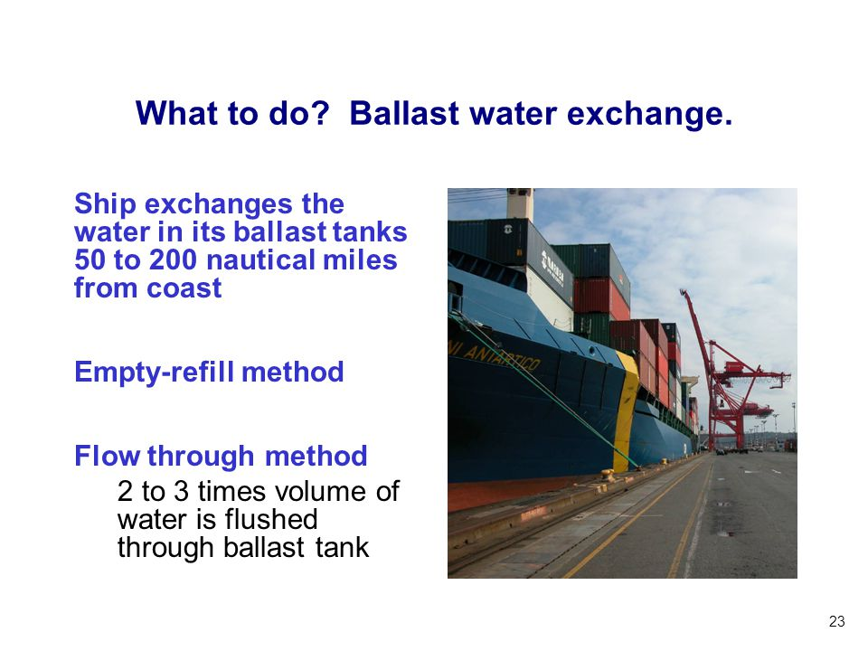 What to do Ballast water exchange.