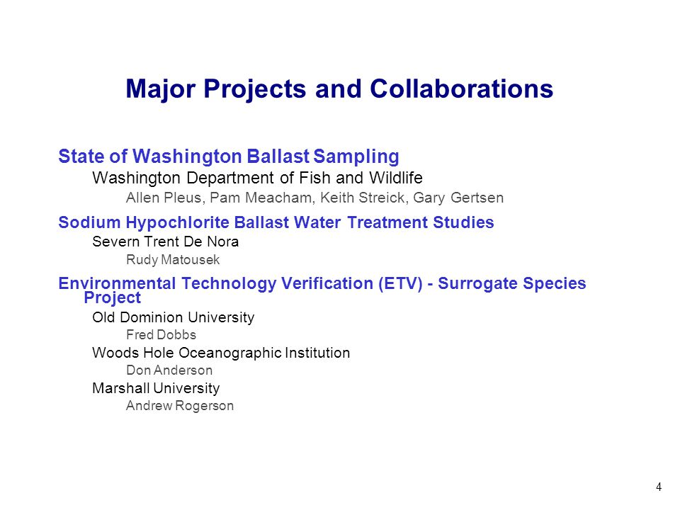 Major Projects and Collaborations