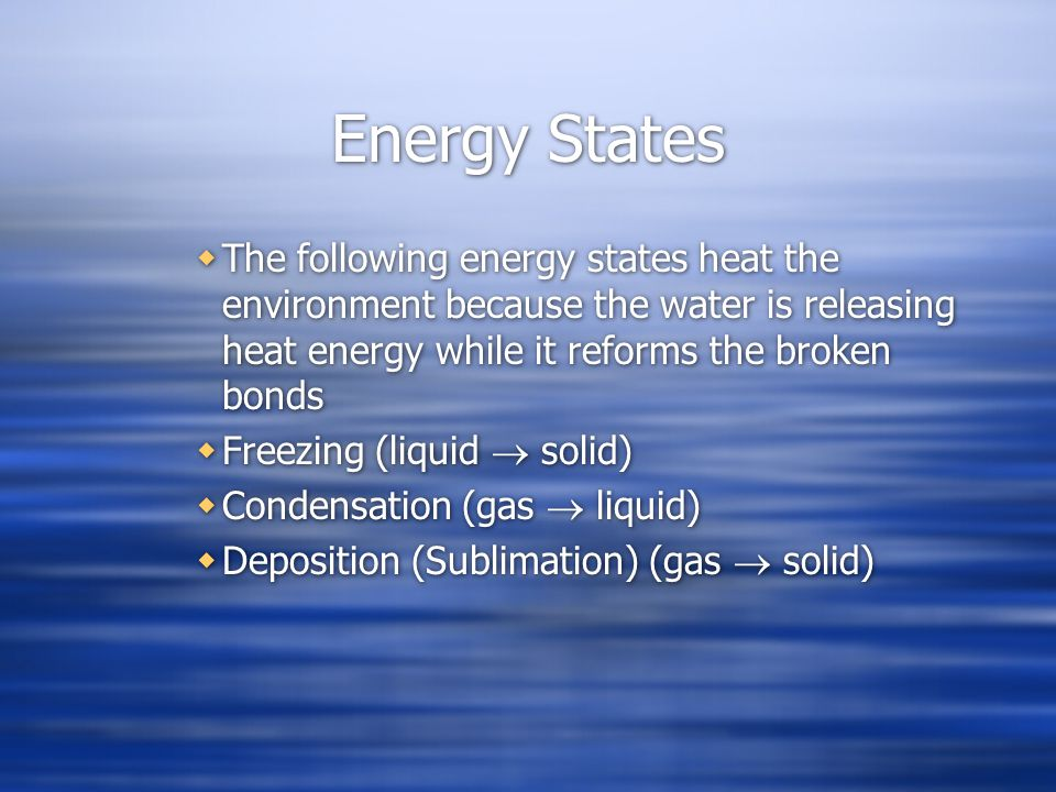 Energy States The following energy states heat the environment because the water is releasing heat energy while it reforms the broken bonds.