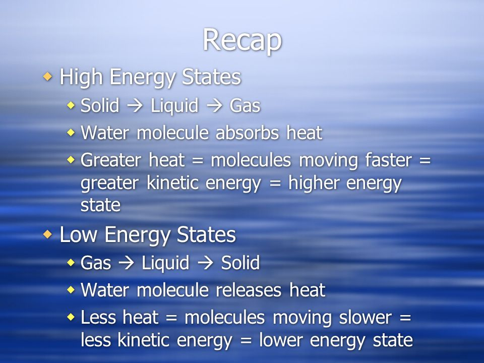 Recap High Energy States Low Energy States Solid  Liquid  Gas