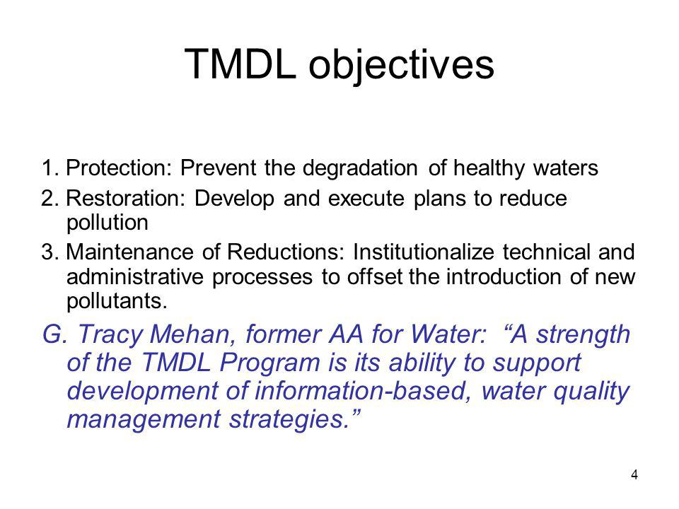 TMDL objectives 1. Protection: Prevent the degradation of healthy waters. 2. Restoration: Develop and execute plans to reduce pollution.