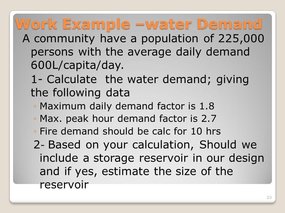 Work Example –water Demand