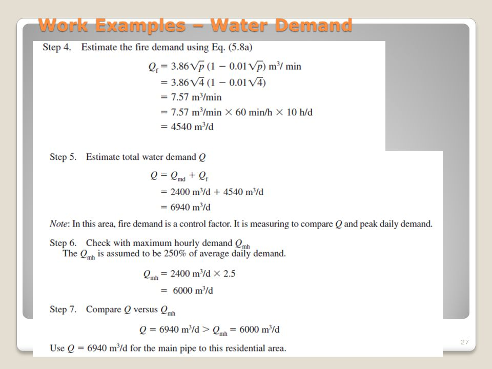 Work Examples – Water Demand