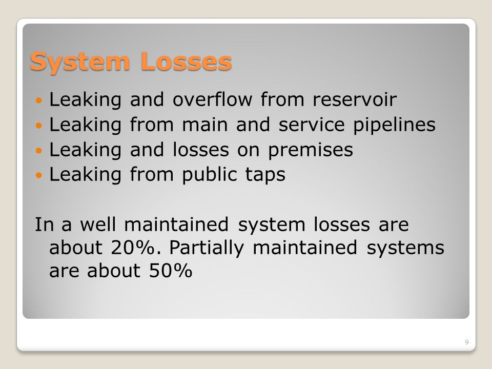 System Losses Leaking and overflow from reservoir