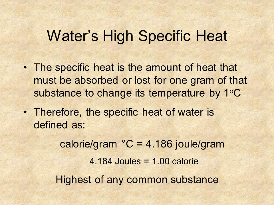 Water's High Specific Heat