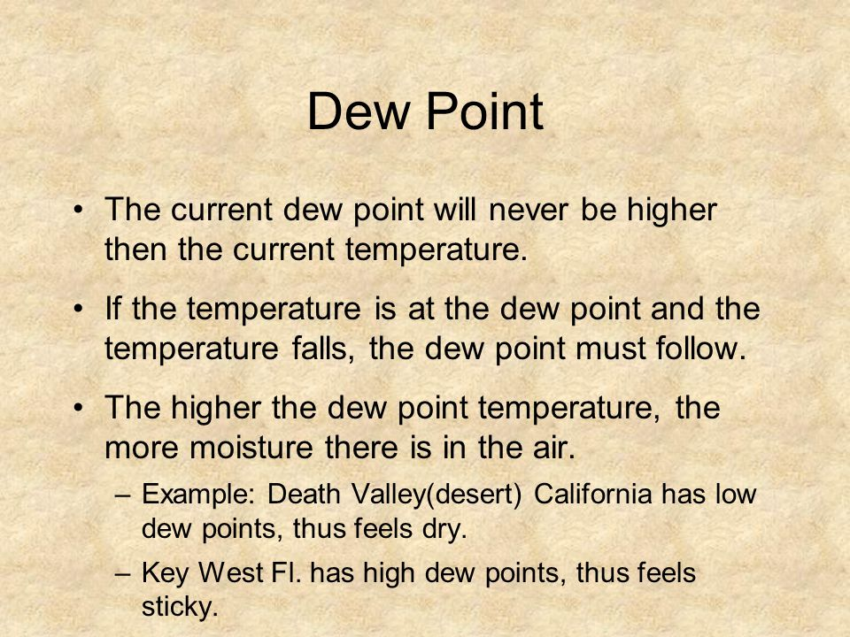 Dew Point The current dew point will never be higher then the current temperature.