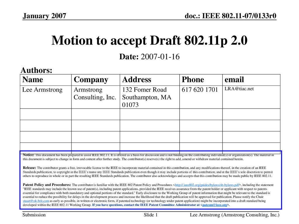 Motion to accept Draft p 2.0