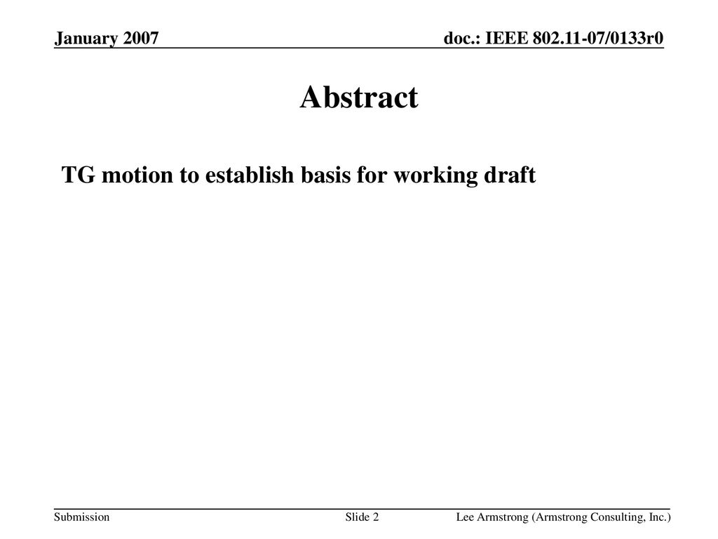 Abstract TG motion to establish basis for working draft January 2007
