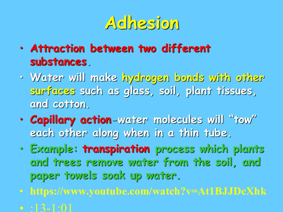 Adhesion :13-1:01 Attraction between two different substances.