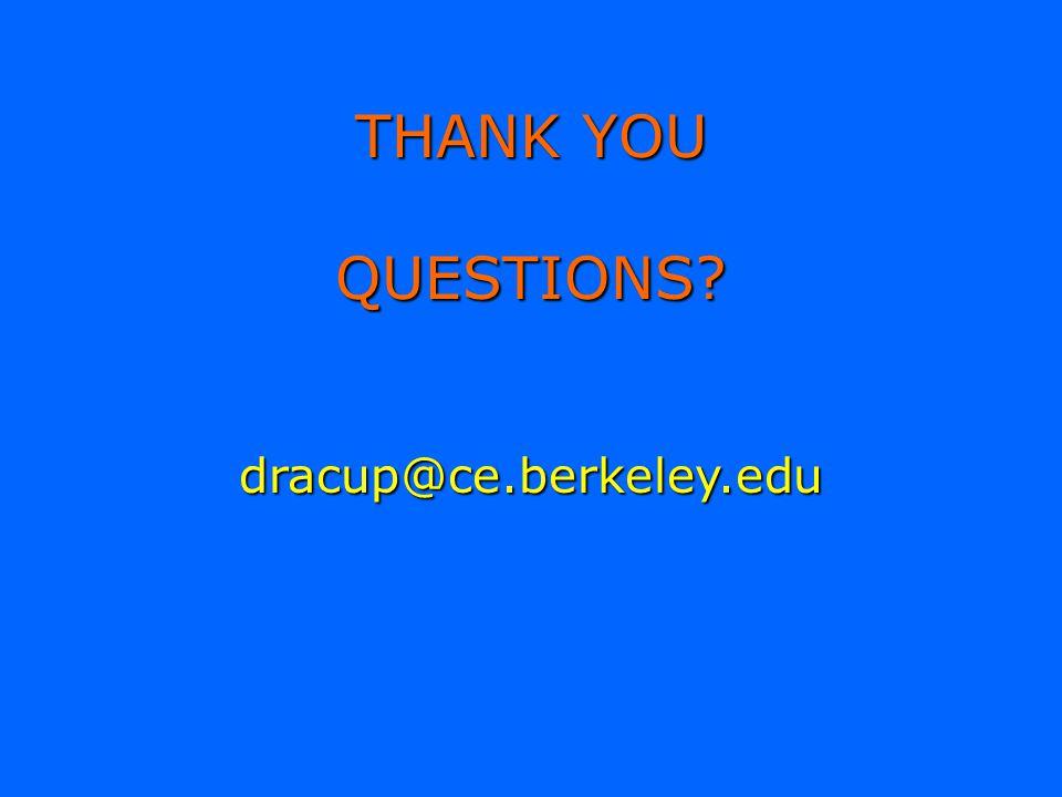 THANK YOU QUESTIONS dracup@ce.berkeley.edu