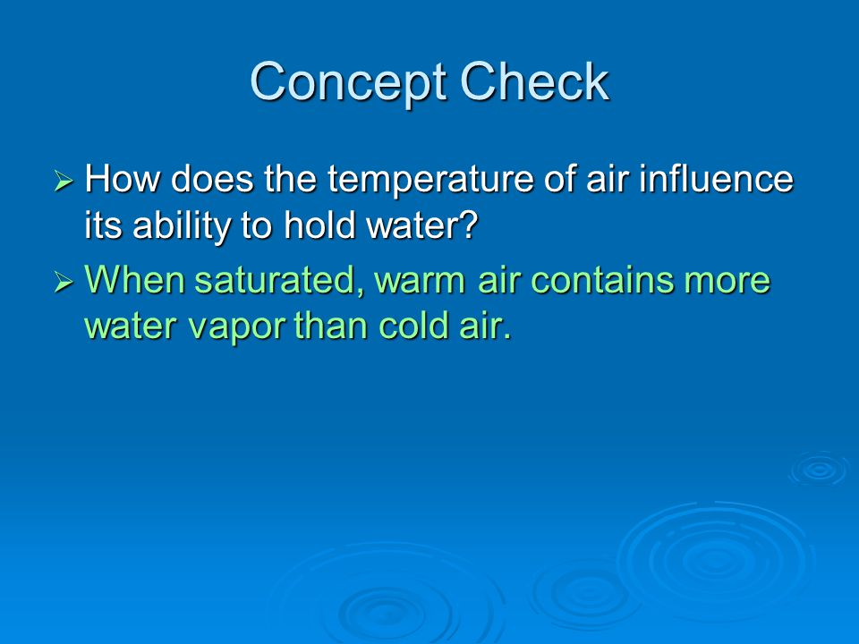 Concept Check How does the temperature of air influence its ability to hold water.