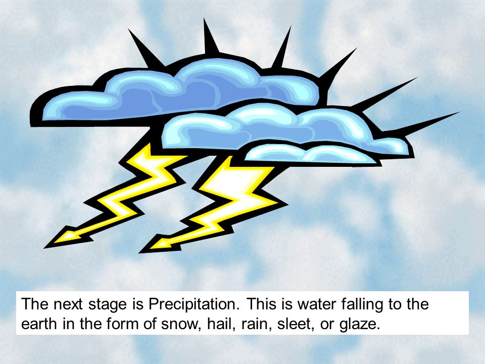 The next stage is Precipitation