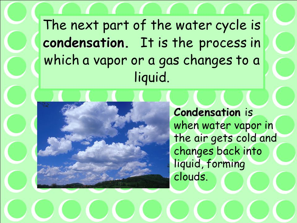 The next part of the water cycle is condensation