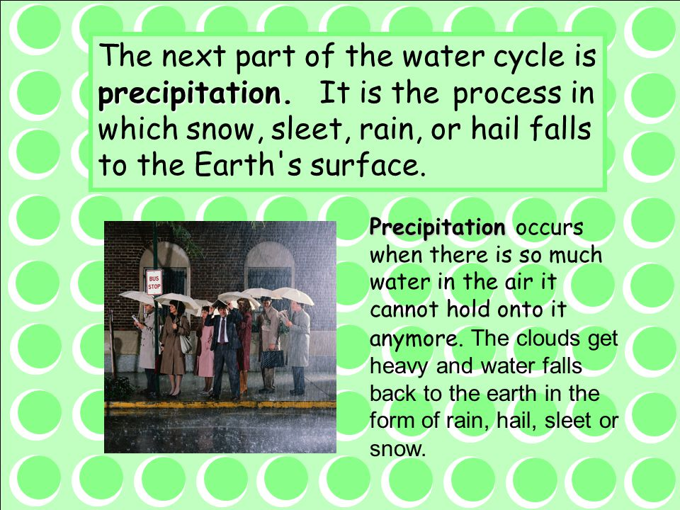 The next part of the water cycle is precipitation