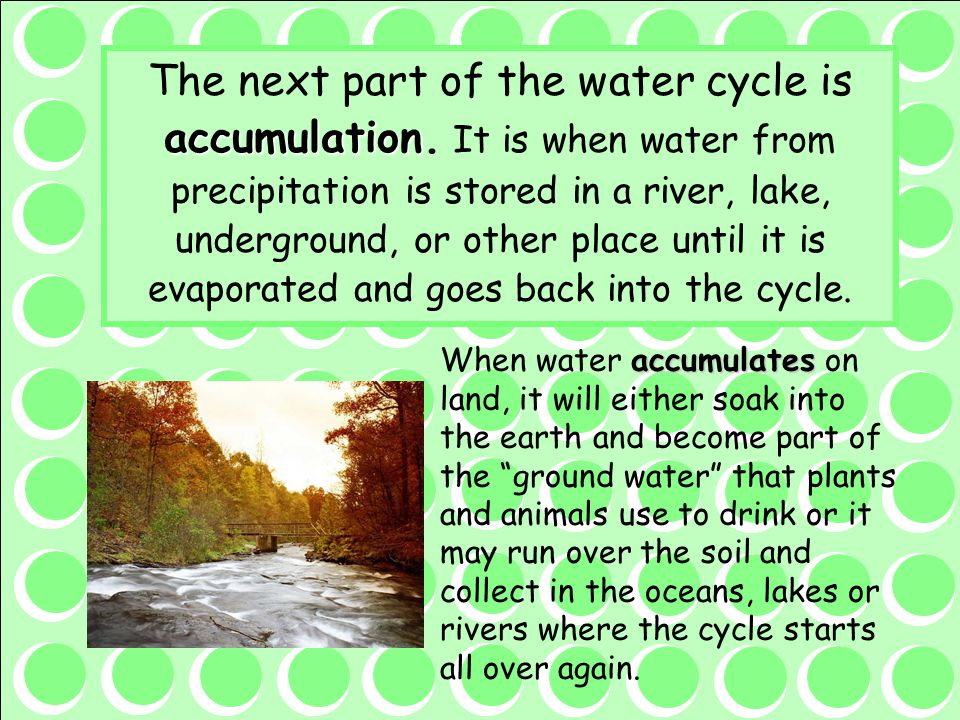 The next part of the water cycle is accumulation