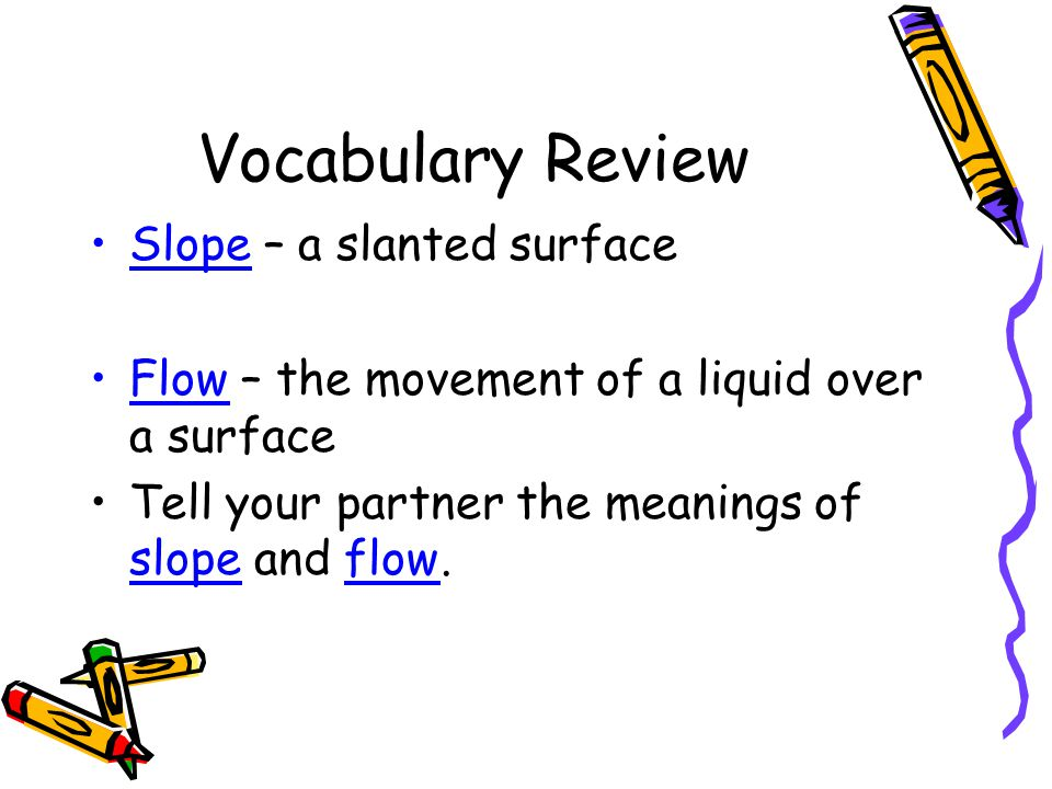 Vocabulary Review Slope – a slanted surface
