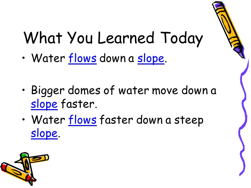 What You Learned Today Water flows down a slope.