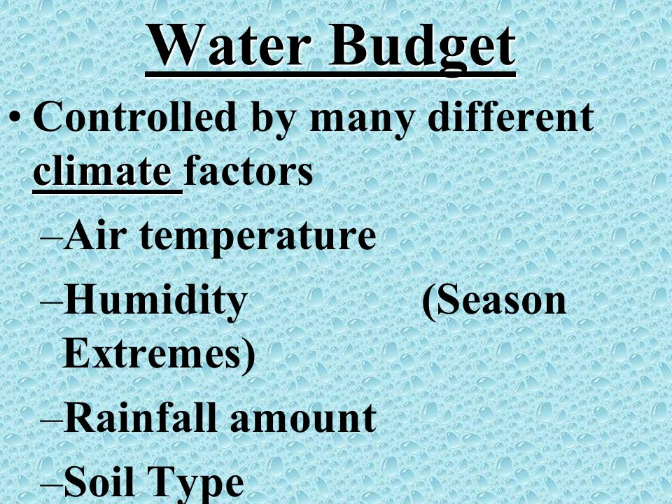 Water Budget Controlled by many different climate factors