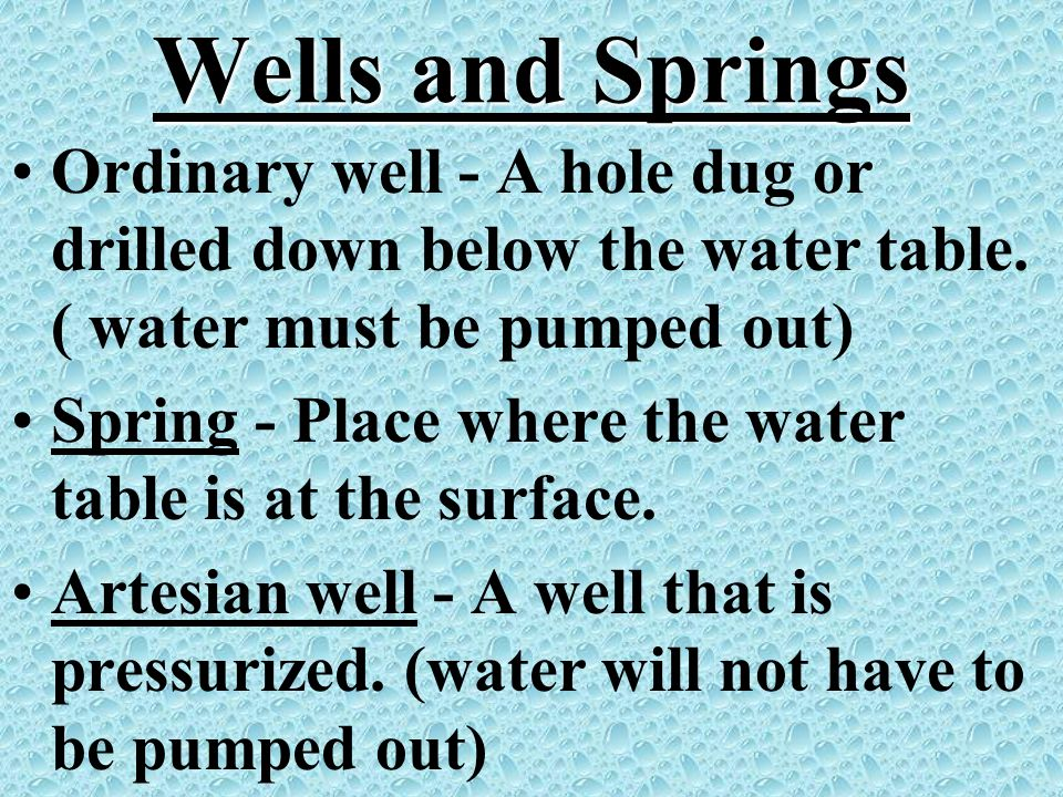 Wells and Springs Ordinary well - A hole dug or drilled down below the water table. ( water must be pumped out)