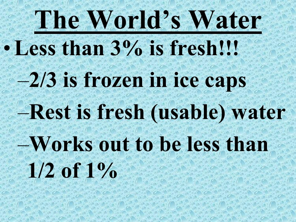 The World's Water Less than 3% is fresh!!! 2/3 is frozen in ice caps