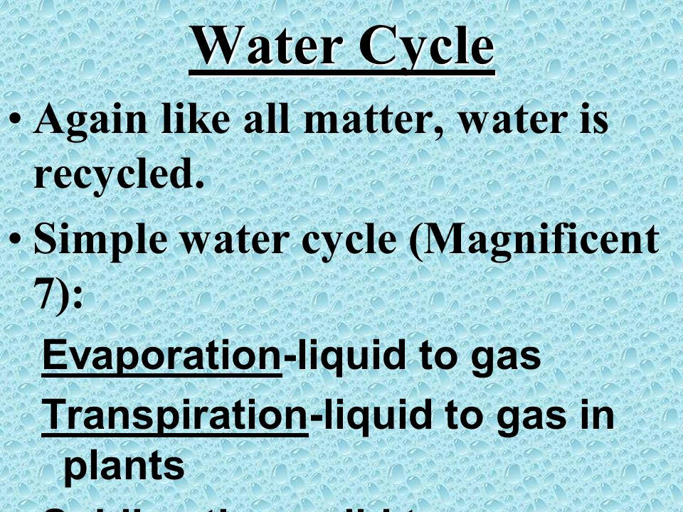 Water Cycle Again like all matter, water is recycled.