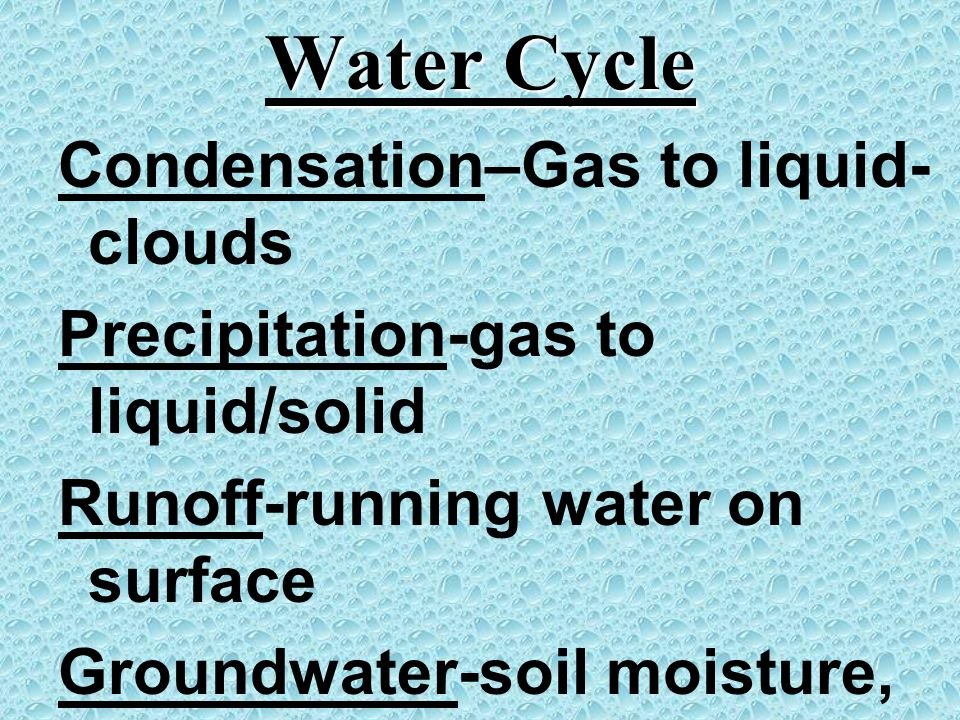 Water Cycle Condensation–Gas to liquid-clouds