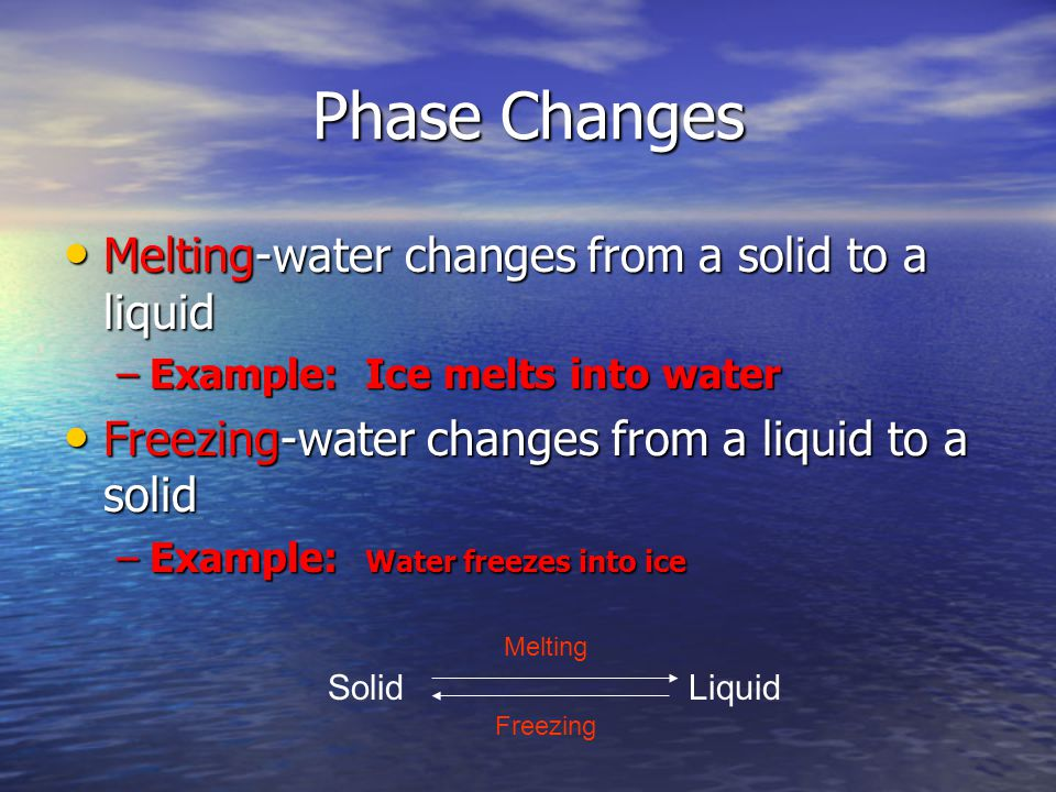Phase Changes Melting-water changes from a solid to a liquid