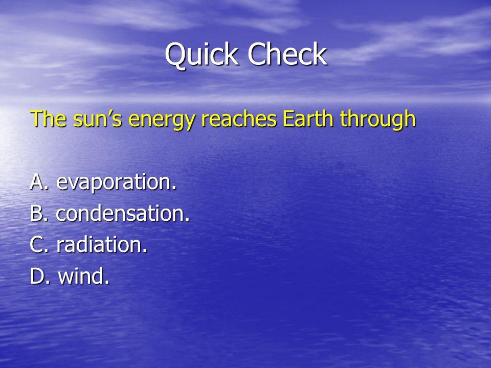 Quick Check The sun's energy reaches Earth through A. evaporation.