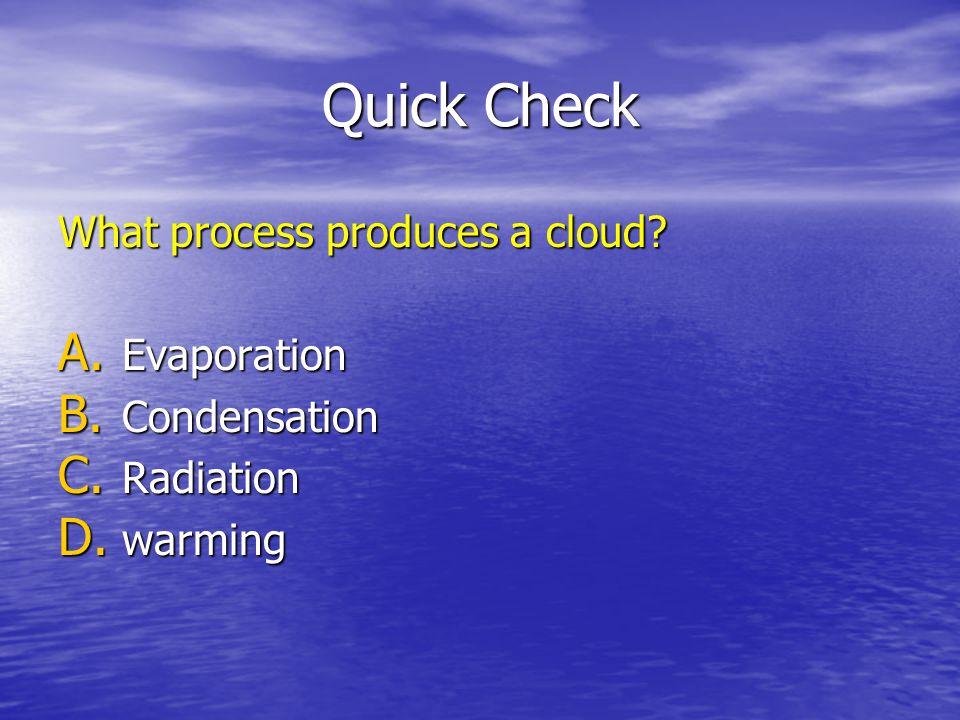 Quick Check What process produces a cloud Evaporation Condensation