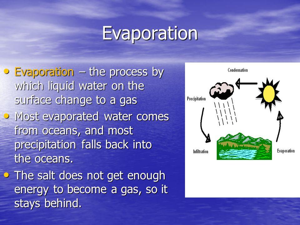 Evaporation Evaporation – the process by which liquid water on the surface change to a gas.