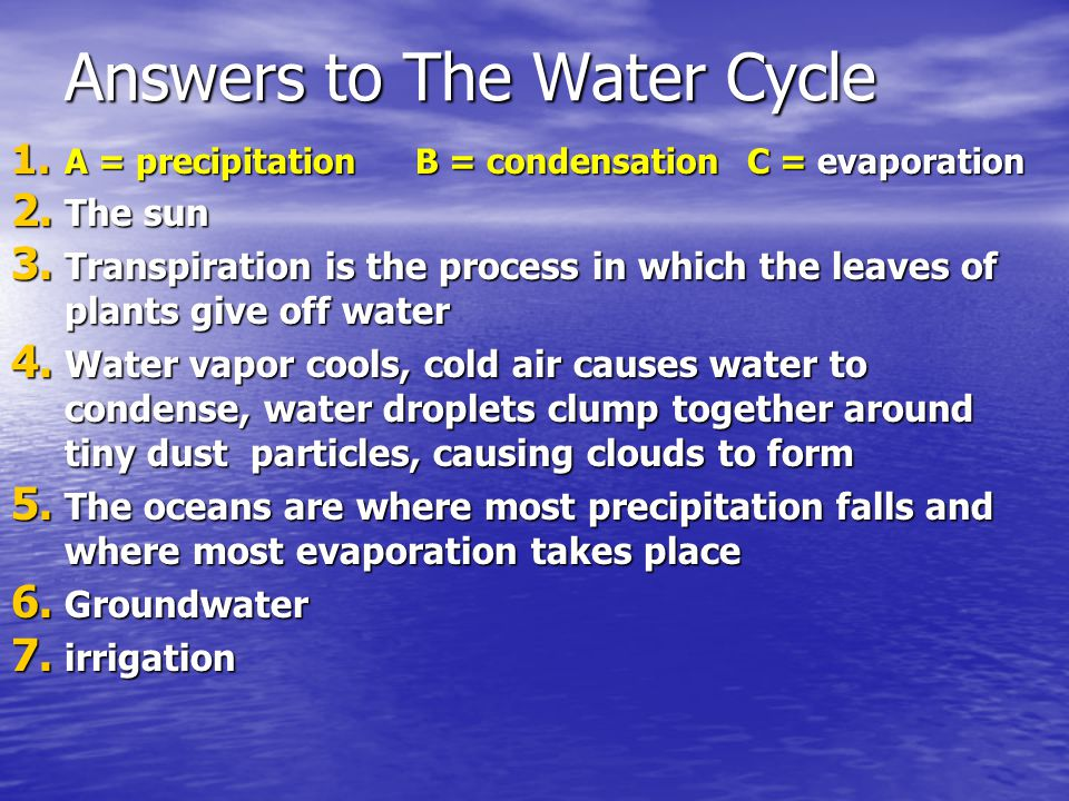 Answers to The Water Cycle