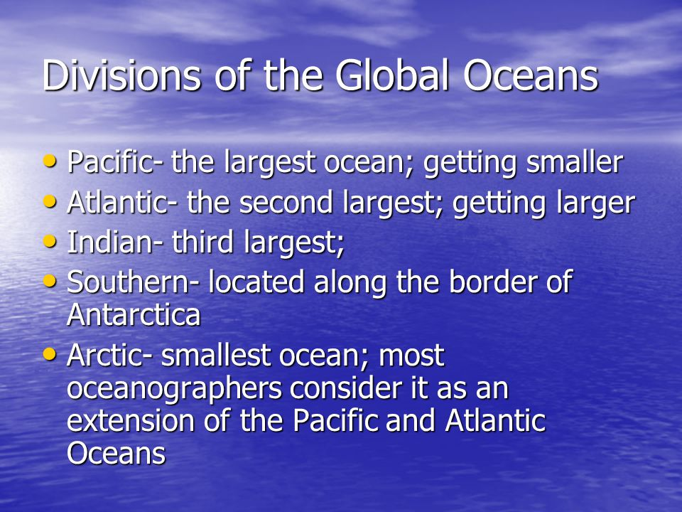 Divisions of the Global Oceans